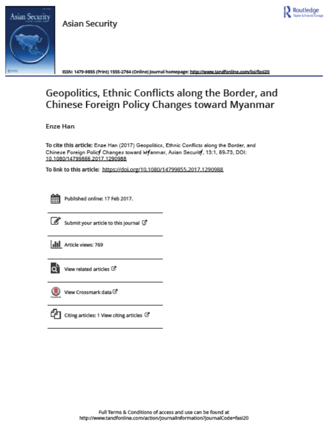 Geopolitics, Ethnic Conflicts along the Border, and Chinese Foreign Policy Changes toward Myanmar